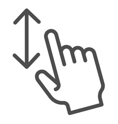 Vertical scoll line icon one finger scroll vector