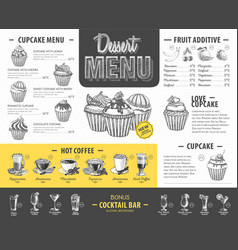 Vintage dessert menu design fast food menu vector