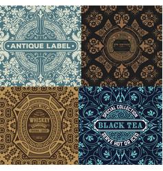 Vintage label set with wallpaper retro desig vector
