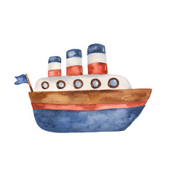 Watercolor cute cartoon steamboat clipart vector