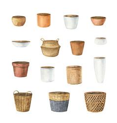 watercolor set ceramic pots different vector image
