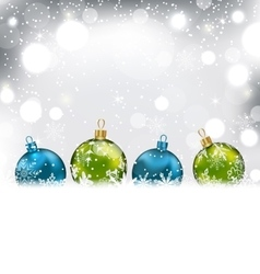 Winter background with colorful glass balls and vector