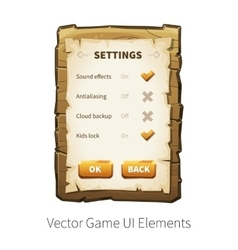 Wooden game ui vector