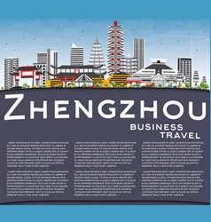 Zhengzhou skyline with gray buildings blue sky vector