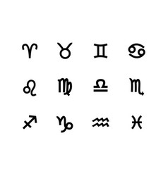 Zodiac sign set icons isolated on white vector