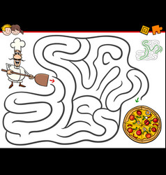 cartoon maze activity with chef and pizza vector image vector image