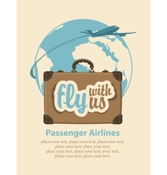 fly with us passenger plane and planet Earth vector image vector image