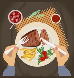 grilled steak of pork vector image vector image