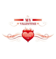 Happy Valentines day border heart fire Romance vector image vector image