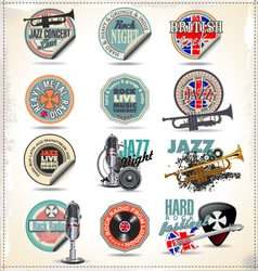 Music stamps and labels vector image vector image