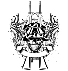 Skull in helmet and two guns vector image vector image