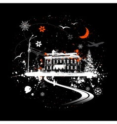 winter night and house vector image vector image
