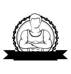black sticker border with muscle man crossed arms vector image vector image