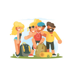 cheerful friends guys and girls vector image vector image