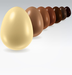 Chocolate egg row on white vector image