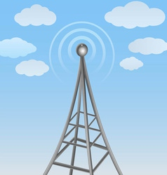 communication antenna on cloudy background vector image