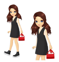 girl in black dress and lace skirt vector image
