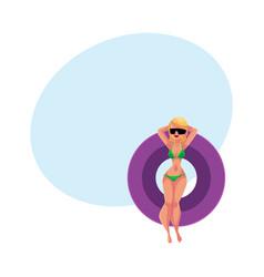 Girl woman in bikini and sunglasses floating on vector