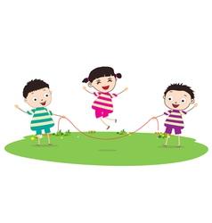 Little kids skipping vector