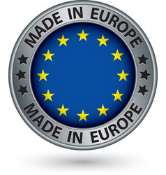 Made in European Union silver label with flag vector image