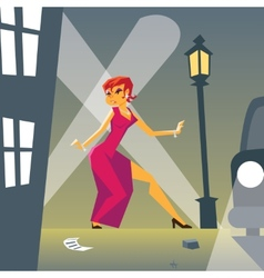 Pin-up Woman in Danger on Stylish Street vector image
