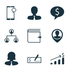 set of 9 management icons includes messaging vector image vector image