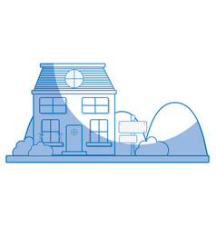 Silhouette house next to mountains and trees vector