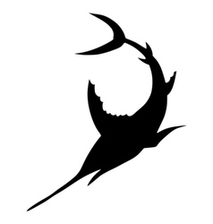 Silhouette of sword fish vector image