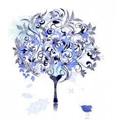 winter snow tree decorated vector image