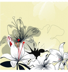 background with white lily flowers vector image vector image