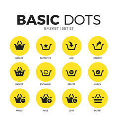 basket flat icons set vector image vector image