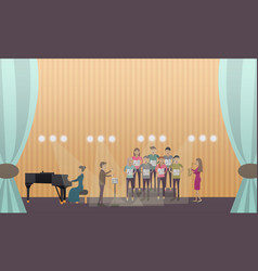 Choir and pianist vector