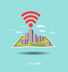 city map wifi flat design icon vector image vector image