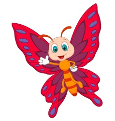Cute butterfly cartoon waving vector image