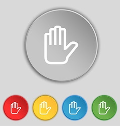 Hand print Stop icon sign Symbol on five flat vector image