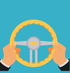 hands holding steering wheel in flat style vector image vector image