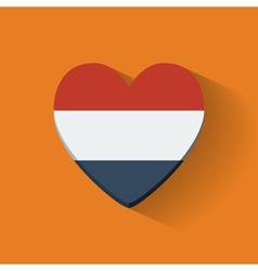 Heart-shaped icon with flag of Netherlands vector image vector image