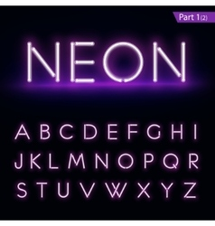 Realistic neon alphabet Purple blue Glowing font vector image