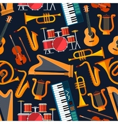 Seamless flat musical instruments pattern vector image vector image