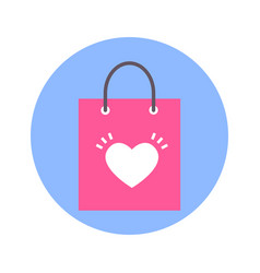 shopping bag with heart shape icon on blue round vector image