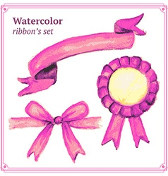 Watercolor pink ribbons set in vintage style vector image vector image