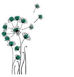 design of hand drawn doodle dandilon flowers set vector image vector image