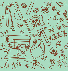 seamless pattern of pictures on a theme of pirates vector image vector image