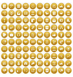 100 dialog icons set gold vector