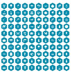 100 live nature icons sapphirine violet vector