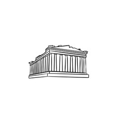 Acropolis in athens hand drawn outline doodle icon vector