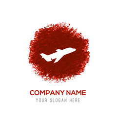 Airplane icon - red watercolor circle splash vector