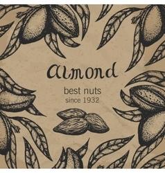 Almond tree design template branch hand vector