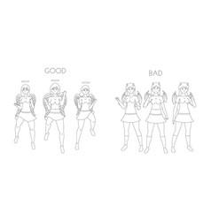 Angelic and devilish girls cartoon line art vector