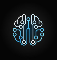 Artificial intelligence brain blue outline vector